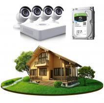 Комплект видеонаблюдения в частный дом на 4 камеры с HDD