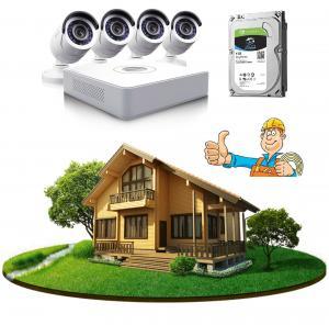 Комплект видеонаблюдения в частный дом на 4 камеры с монтажом и HDD
